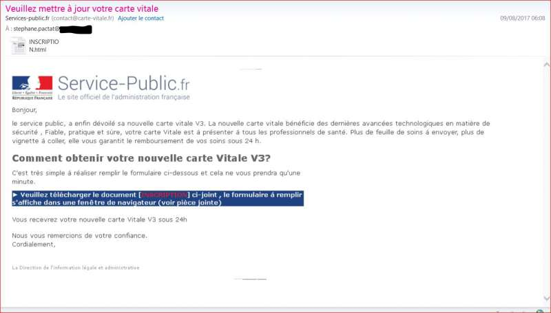 Contact Carte Vitale Fr Arnaque Identite Phishing