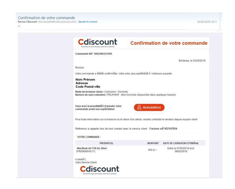 info suivi service suivi de commande cdiscount arnaque identit phishing. Black Bedroom Furniture Sets. Home Design Ideas