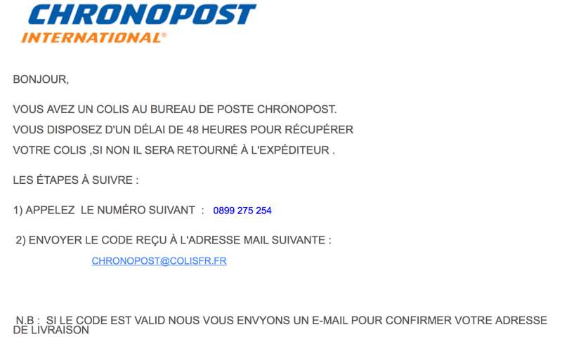 arnaque mail chronopost