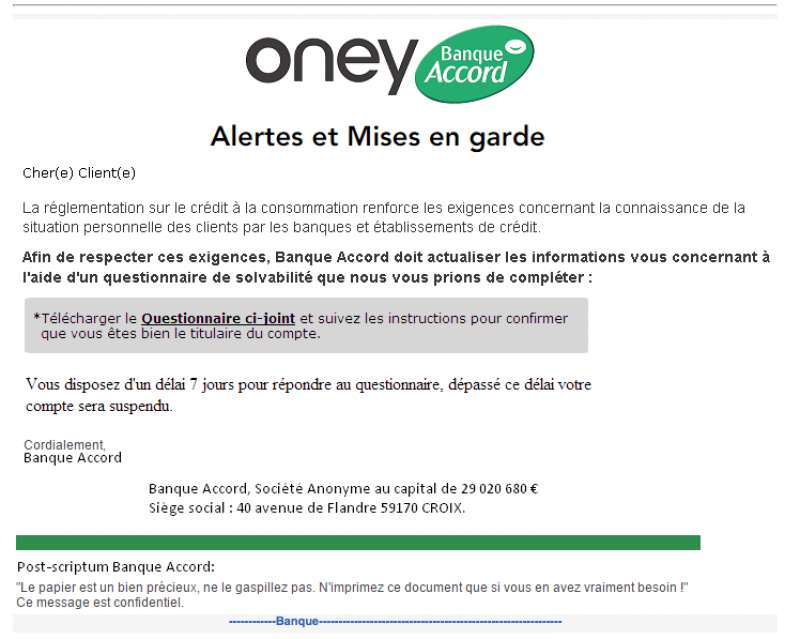 Qysuy oney banque accord arnaque identit phishing - Oney banque accord prelevement ...