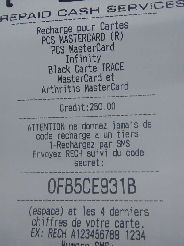 Coupons recharges pcs mastercard de 250